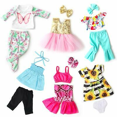 """6Sets Clothes Dresses Summer Casual Wear Oufits for American 18"""" Girl Doll Gift"""