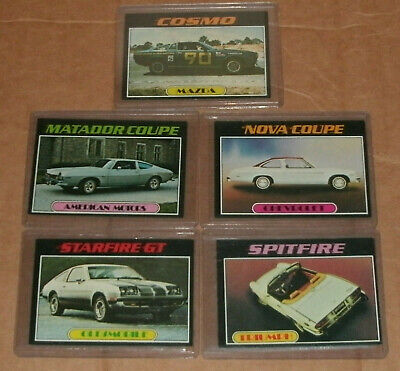 """Five Topps """"Autos of 1977"""" Automobile Trading Cards Picture Card Collectible Lot"""