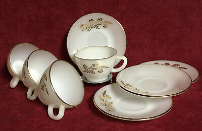SET OF 4  MEADOW GOLD CUP & SAUCERS by FEDERAL GLASS  #21043