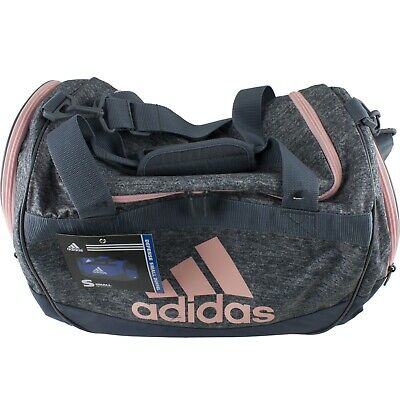455f827a3b0306 Adidas Defense Small Duffel Sports Gym Bag School Workout Soccer Coral Pink  Gray
