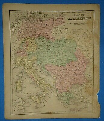 Vintage 1868 ITALY - AUSTRIA - GREECE Map Old Antique Original Atlas Map