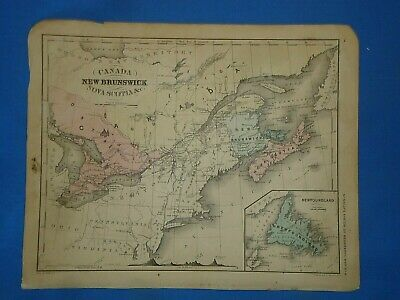 Vintage 1869 CANADA Map Old Antique Original Atlas Map