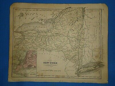 Vintage 1869 NEW YORK STATE Map Old Antique Original Atlas Map