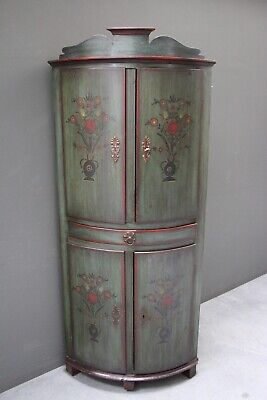 Antique provincial painted pine barrel front corner cabinet farmhouse armoire