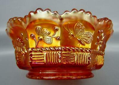 "Northwood SPRINGTIME Marigold Carnival Glass 4½"" Small Berry Bowl 6746"