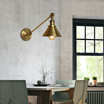 Industrial Retro Brushed Brass Light Wall Sconce Lamp Cone Shade Porch Fixture