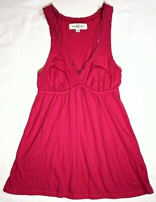 2a8cf327424 Abercrombie and Fitch Womens Juniors Size Small Cute Pink Plain Tank Top  Elk EUC