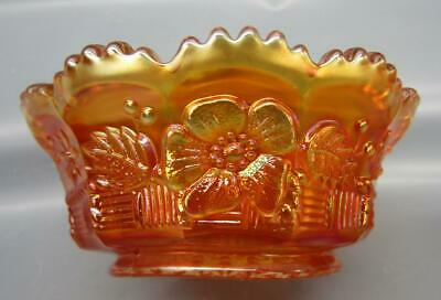 """Northwood SPRINGTIME Marigold Carnival Glass 4½"""" Small Berry Bowl 6747"""
