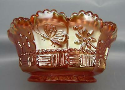 """Northwood SPRINGTIME Marigold Carnival Glass 4½"""" Small Berry Bowl 6749"""