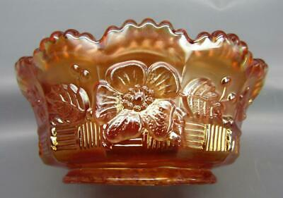 """Northwood SPRINGTIME Marigold Carnival Glass 4½"""" Small Berry Bowl 6750"""