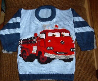 Fire Truck Cars   Jumper  New Hand Knitted Size 3/4
