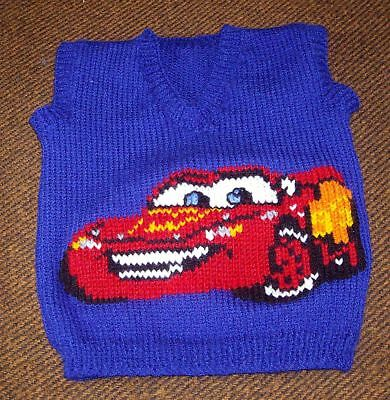Cars Lightning Mcqueen Vest New Hand Knitted Size 2-