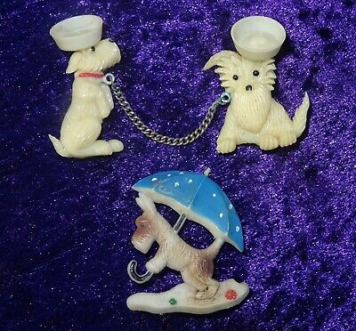 Antique Vintage 1920's Art Deco Celluloid Terrier Dog Brooches Pins