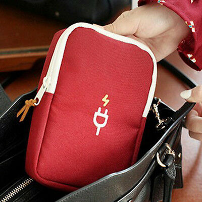 Digital Storage Bag Travel Data Cable Charger Cord Pouch Power Bank Case  YW