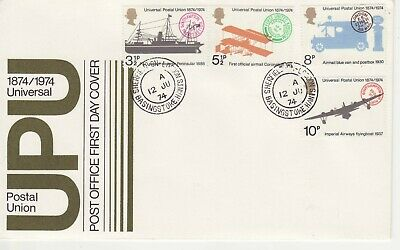 GB Stamps First Day Cover Centenary of Universal Postal Union etc CDS Hants 1974