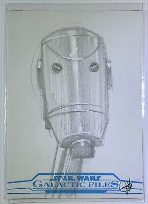 """Star Wars Galactic Files Reborn """"Battle Droid"""" Sketch Card by Jessica Hickman"""