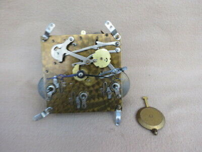 Vintage English Westminster Chime Clock Movement, Hands And Pendulum For Spares