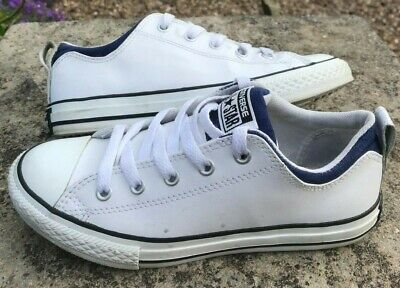 Kids Boys Girls Womens CONVERSE ALL STAR Size UK 2 White Leather Pumps Trainers