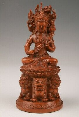 Precious Chinese Boxwood Hand-Carved Guanyin Statue Old Collection