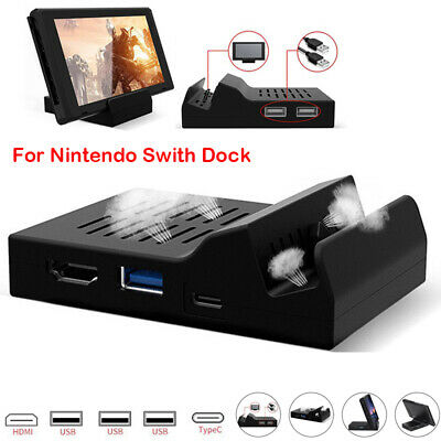 Portable 3 USB Charger Stand Dock HDMI for Nintendo Switch With Electronic Chip