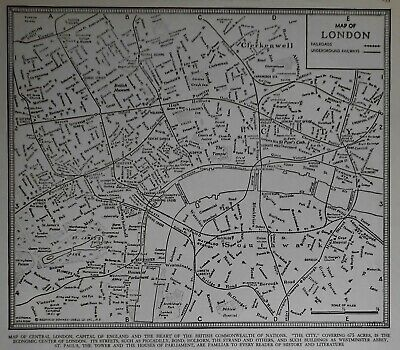 Vintage 1939 World Atlas City Map of Central London, England World War WWII OLD
