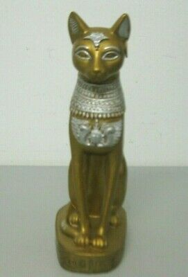 Egyptian Cat Goddess Bastet Figurine Statue Gold and Silver Bastet with Earring
