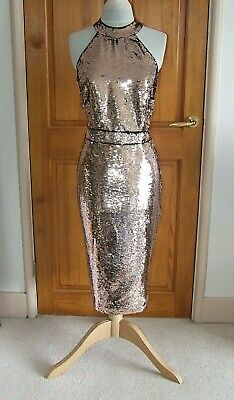 2d6de00cf975 Lipsy Abbey Clancy Gold & Black Sequin Decorated Evening/Party Dress Size  Uk 14