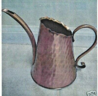 Vintage Hand Hammered Solid Copper Gregorian Watering Can Curved Spout