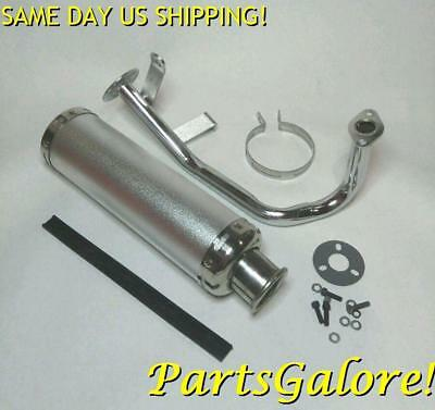 Performance Exhaust System Muffler Pipe, GY6 125cc 150cc Scooter, SILVER
