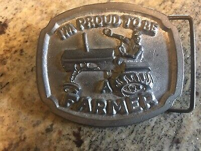 I'm Proud To Be A Farmer Belt Buckle Vintage 1980 Solid Pewter Tractor