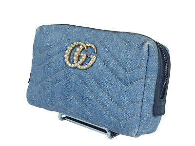 1b88f15ff AUTH GUCCI GG Marmont Denim Canvas Leather Cosmetic Pouch Bag GP2090 ...