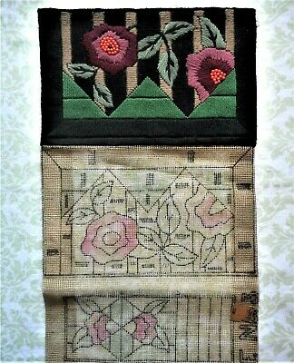 Vintage Antique 20's Art Deco Floral Beaded Purse Needlepoint Canvas 1 Finished