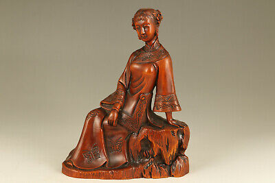 rare chinese old boxwood hand carve mother statue collectable