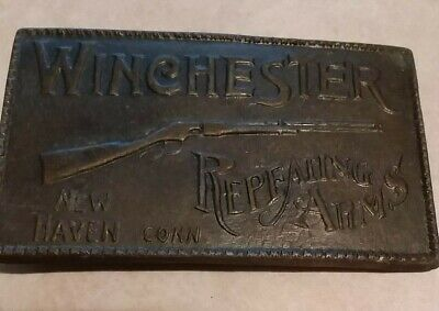 Vintage Belt Buckle Winchester Repeating Arms New Haven Connecticut Gun