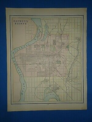 Vintage 1891 COUNCIL BLUFFS Map Old Antique Original Atlas Map
