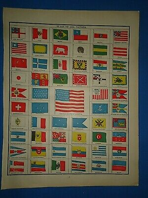 Vintage 1891 Cram's Atlas Illustration ~ FLAGS of NATIONS - OLD GLORY