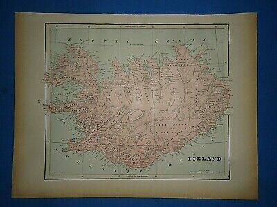 Vintage 1891 ICELAND Map Old Antique Original Atlas Map