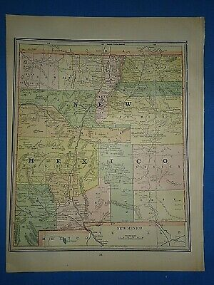 Vintage 1891 NEW MEXICO TERRITORY Map Old Antique Original Atlas Map
