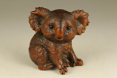 collectable chinese old boxwood hand carved koala statue netsuke