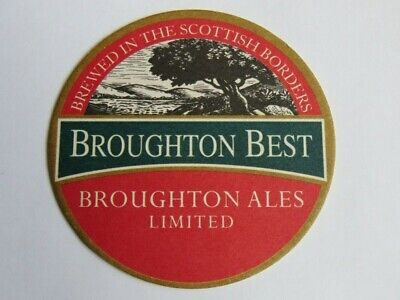 Beer Coaster Bar Mat ~*~ BROUGHTON Best Ales ~ Brewed in the Scottish Border, UK