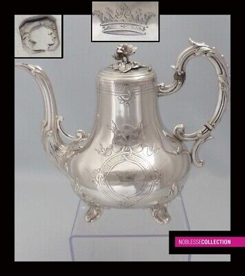 STUNNING ANTIQUE 1890s FRENCH FULL STERLING SILVER TEA POT Napoleon III Style