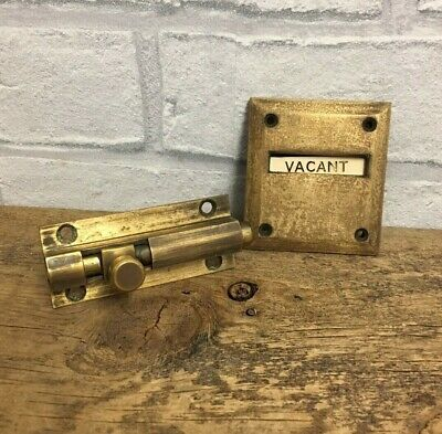 Original Vintage Public Toilet Door Lock Vacant - Engaged Made From Brass