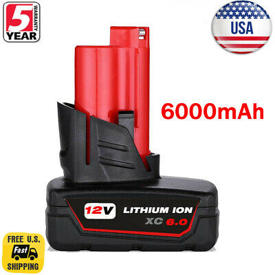 For Milwaukee M12 Lithium XC6.0 Extended Capacity 48-11-2460 48-11-2440 Battery