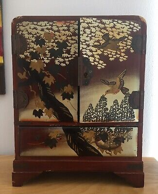 Victorian Japanese Small Lacquer Box Brown Gold Decoration Birds And Tree Leaves