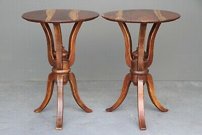 Pair round wine tables bedsides carved regency mid century provincial antique