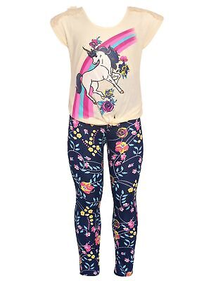 bd3be822223b LITTLE GIRLS IVORY Unicorn Rainbow Floral Print 2 Pc Leggings Outfit ...