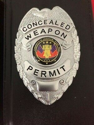 NEW IN BOX   Concealed Carry (SILVER) Badge with Wallet
