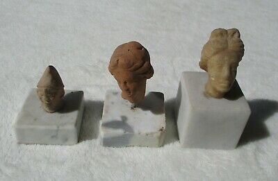 Two greek clay heads and one marble head very nice lot