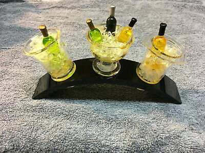 Vintage WIne Stopper Set Ice Bucket Bottles Ice Cubes Acrylic NEW