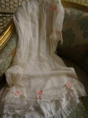 A Pretty Antique Tulle Lace & Pink Ribbon Christening Gown C.1920